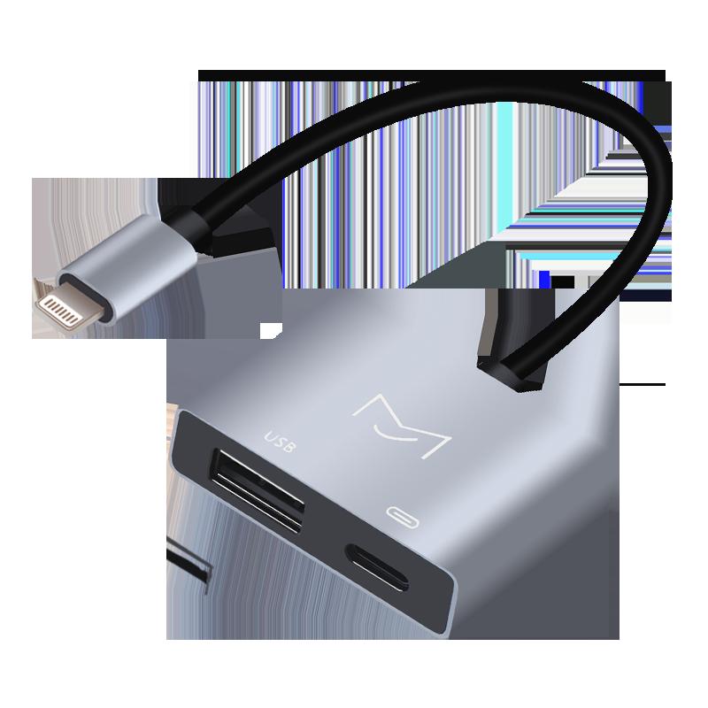苹果手机OTG线iPad/iPhone转接头USB连u盘电钢琴电鼓MIDI键盘相机,免费领取5元淘宝优惠卷