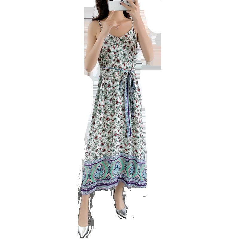 小雏菊吊带裙2020年夏季大码女装时尚外穿棉绸碎花吊带连衣裙长款