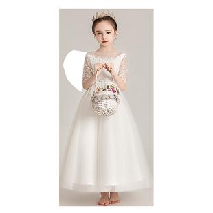 女童白色洋氣公主裙花童婚禮小女孩晚禮服兒童主持人鋼琴演出服冬