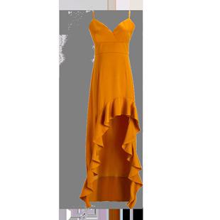 島歌夫人沙灘裙女海邊度假裙修身性感露背V領魚尾長裙吊帶裙綢緞