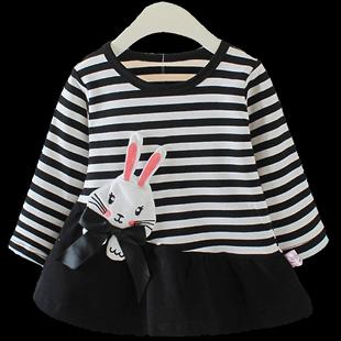 女寶寶長袖T恤2020秋季1-3歲女童休閒洋氣春款條紋上衣嬰幼兒秋裝