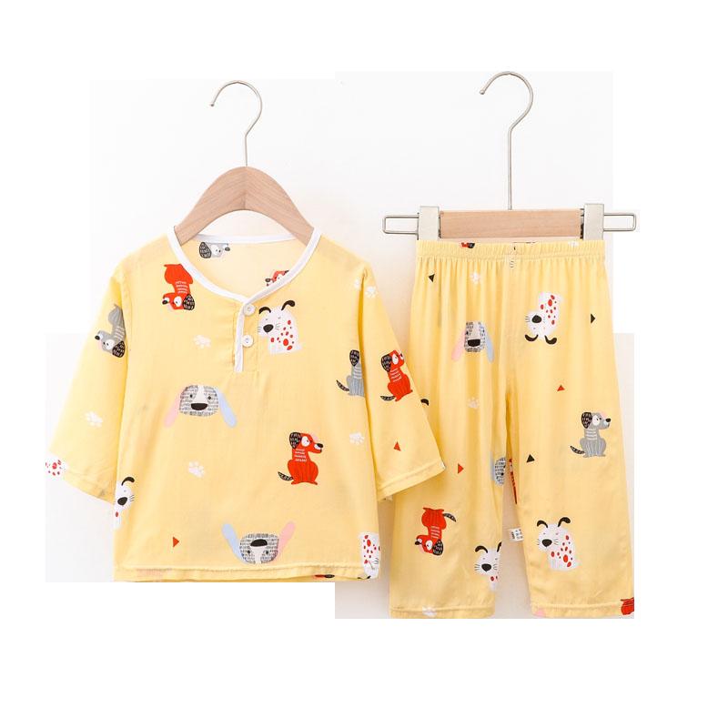 儿童睡衣薄款夏季棉绸长袖套装女童男童宝宝中大童家居服空调服薄