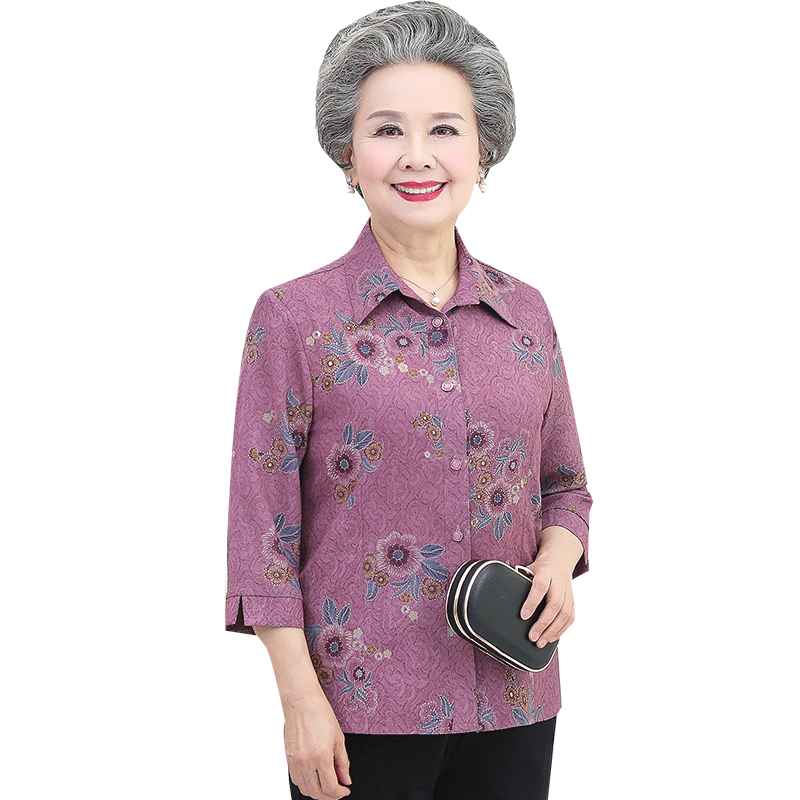 老年人夏装女奶奶装衬衫中袖老太太服装薄款中老年妈妈装老人衣服