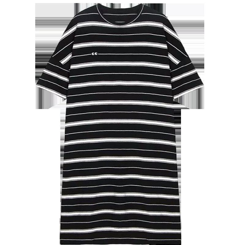 冰丝针织条纹连衣裙女夏装新款2019韩版imiss慵懒风中长款T恤裙子