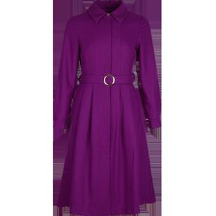 毛呢裙子女冬連衣裙2020新款秋冬翻領繫帶收腰氣質紫色打底中長裙