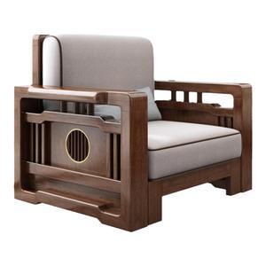 新中式客厅小户型布艺全实木沙发