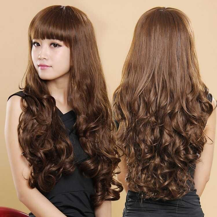 Wig female Qi inclined bangs whole Top Wig set long curly hair realistic fluffy short hair piece straight hair wig horsetail
