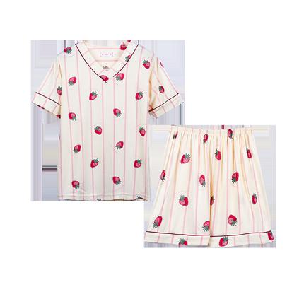 夏季短袖纯棉韩版可爱宽松学生睡衣