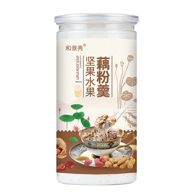 【送碗+勺】水果坚果藕粉羹手工莲子羹西湖藕粉营养早餐粥500g/罐