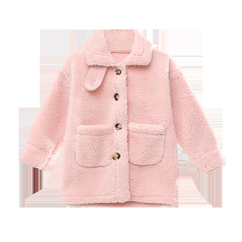 女童秋冬装羊羔毛外套2020新款洋气网红儿童装韩版中大童毛绒大衣