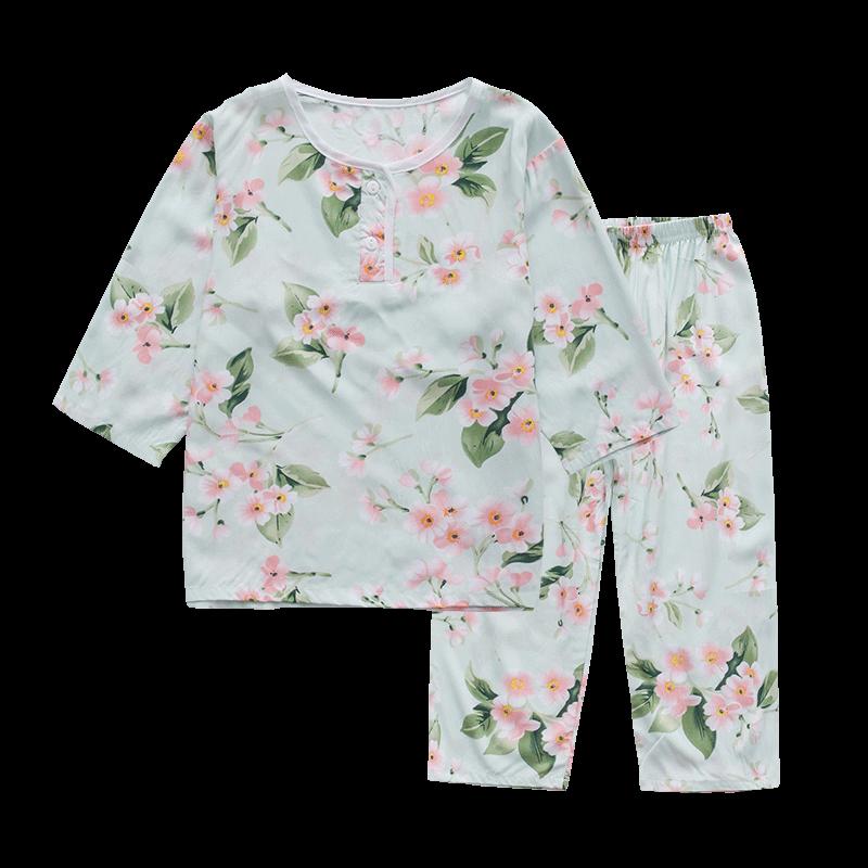 秋季棉绸儿童女童睡衣长袖薄款公主女孩中大童绵绸空调家居服套装