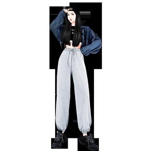 灰色運動褲女寬鬆束腳顯瘦高腰小個子秋冬2020ins潮加絨休閒衞褲