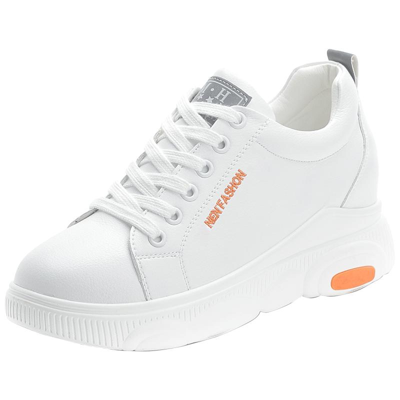 真皮小白鞋女2020夏季新款百搭内增高单鞋运动休闲鞋厚底松糕正品