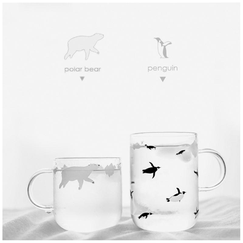 日式耐热玻璃杯可爱水杯创意牛奶花茶杯咖啡杯极地北极熊企鹅杯子