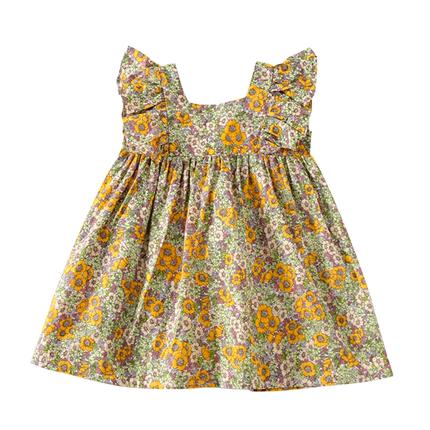 纯棉女童碎花连衣裙夏2020女童装儿童新款洋气短袖韩版套装儿童