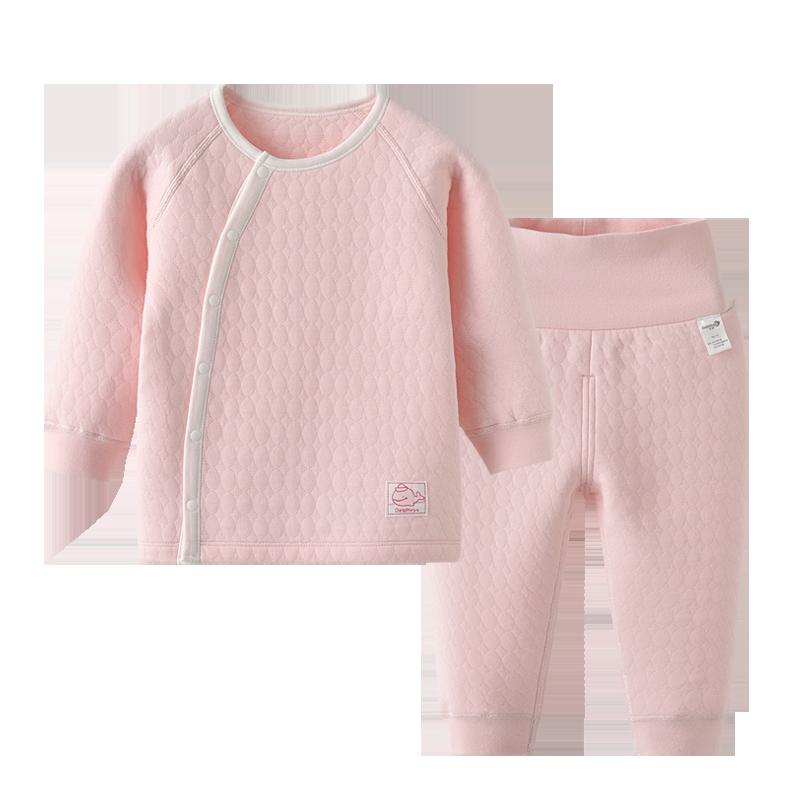新生婴儿保暖衣两件套薄棉套装分体宝宝春秋夹棉内衣高腰护肚衣服