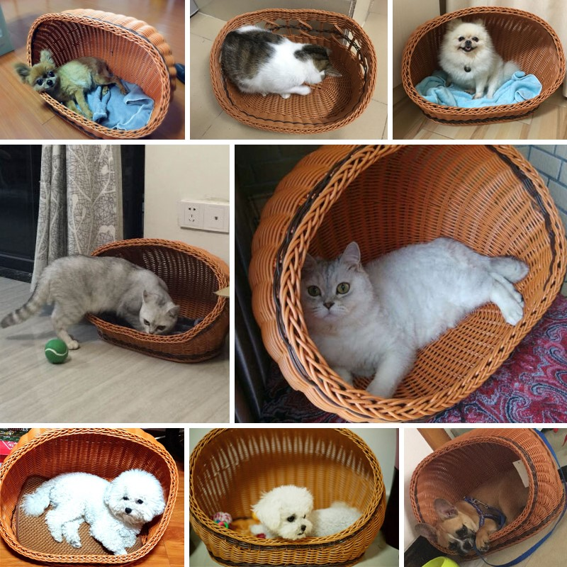 Rattan cat house cat bed semi closed dog house in summer