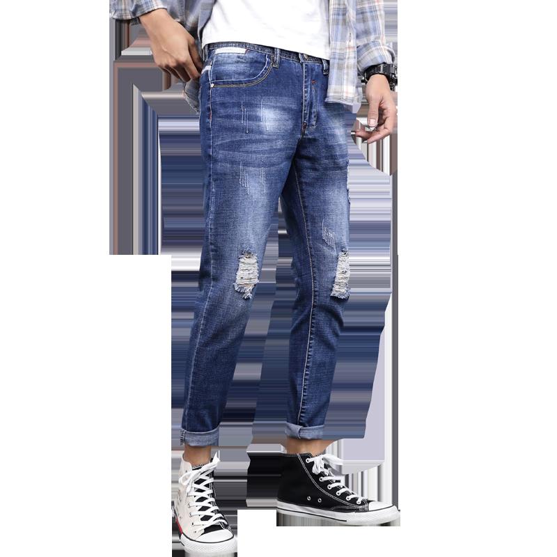 罗蒙2020新款韩版破洞修身男士裤