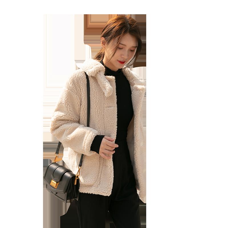 短款大口袋羊羔毛外套2019新款韩版宽松鹿皮绒皮毛一体颗粒羊剪绒
