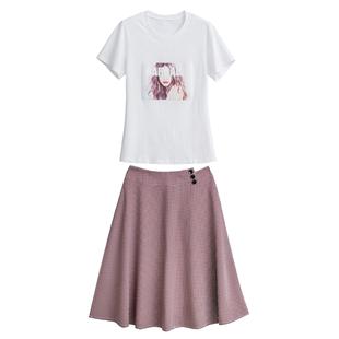 2020夏裝新款洋氣俏皮網紅兩件套超仙氣質很仙高腰顯瘦半身裙套裝