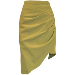 胖mm不规则半身裙女秋褶皱炸街中裙大码显瘦高腰设计感a字包臀裙