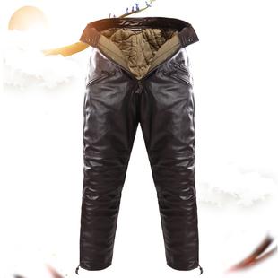 真皮裤男中老年高腰宽松男士裤子