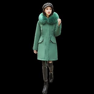 冬季2019年新款中长款加绒韩版棉服