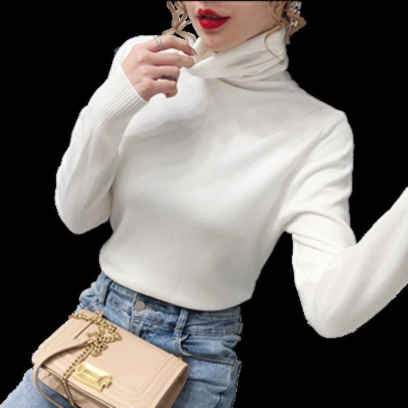 2020秋冬新款加厚高领毛衣女韩版堆堆领长袖保暖修身针织衫打底衫