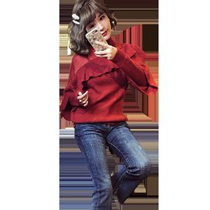 欧洲站洋气半高领女长袖红色针织衫