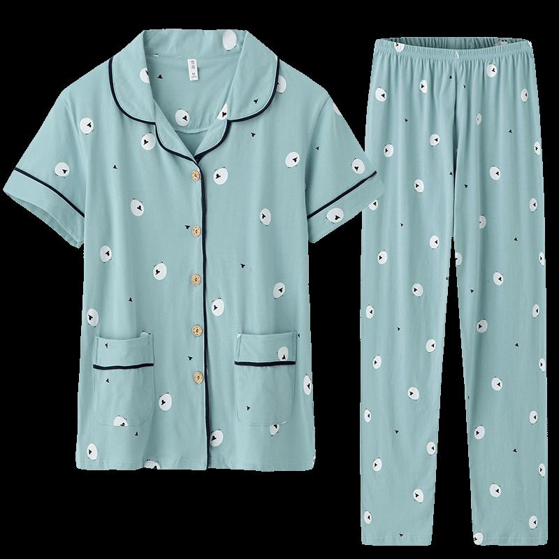 雪俐睡衣女士夏季纯棉短袖长裤家居服