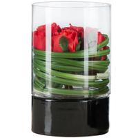 廊燕 烛台摆件美式玻璃蜡烛杯 陶瓷底座 餐厅装饰风灯家居装饰品