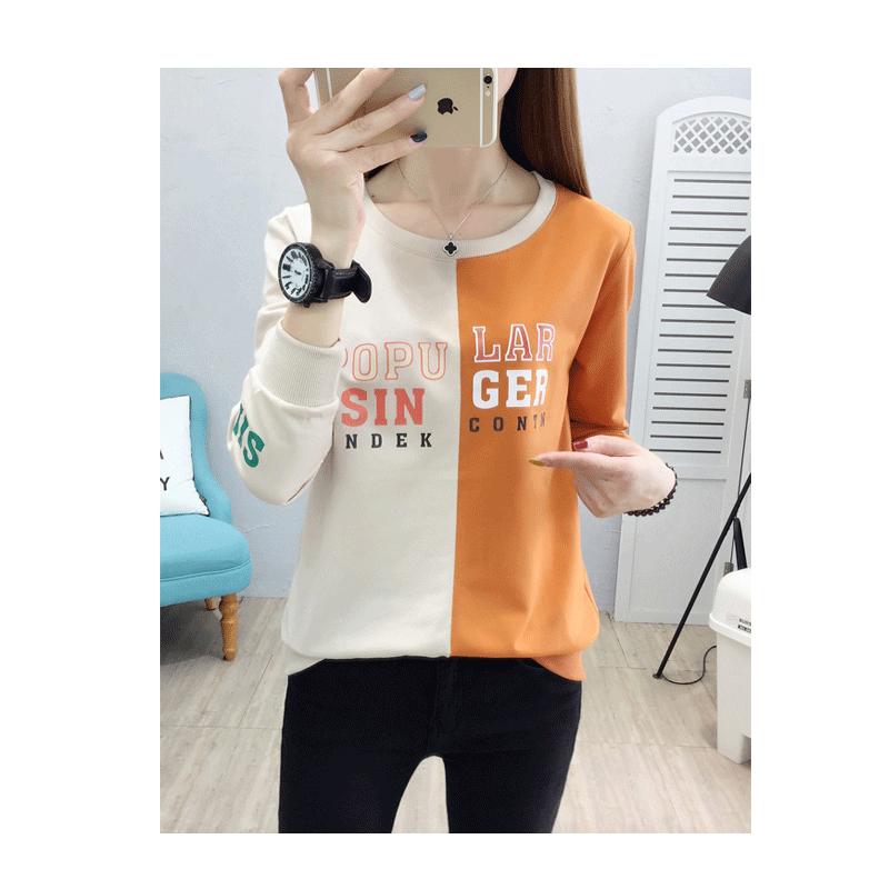 秋冬新款韩版长袖上衣打底衫圆领宽松加大码印花拼色T恤棉卫衣女