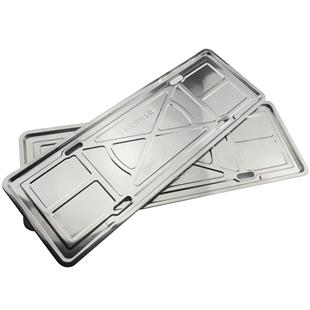 不鏽鋼汽車車牌邊框包邊架子奔馳牌照框新交規車牌套框托盤車管所