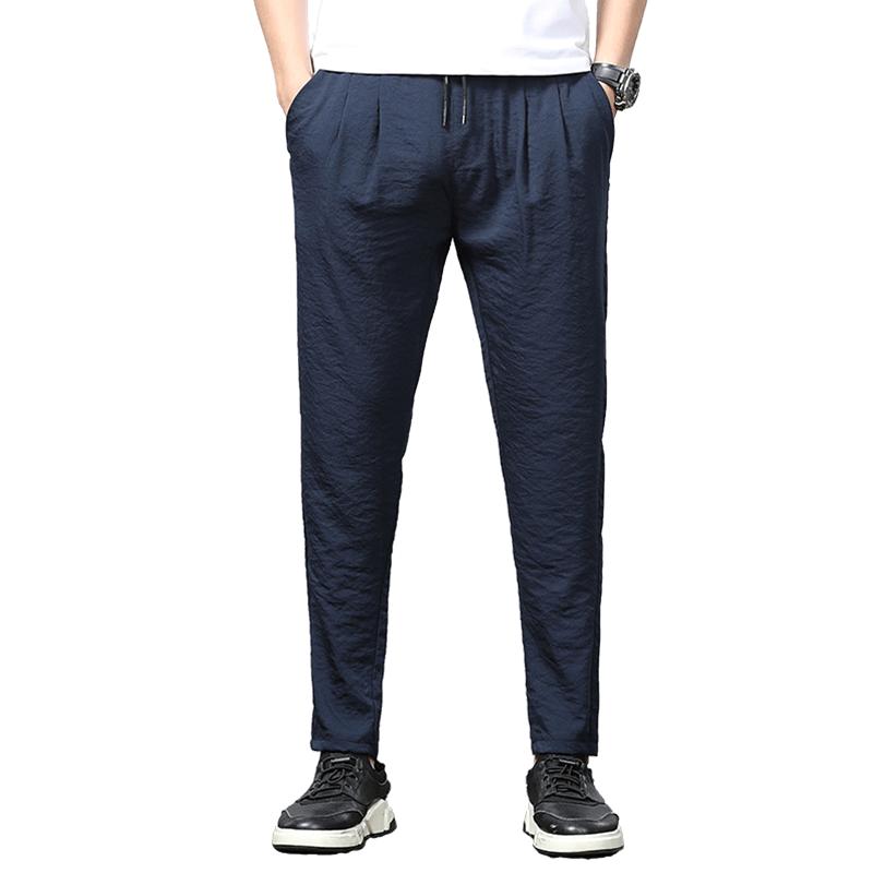 北极绒休闲裤男士夏季冰丝修身长裤