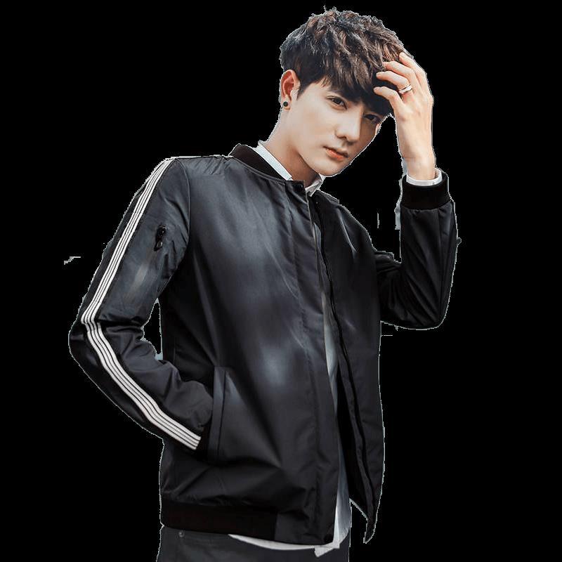 秋季新款男士加绒夹克韩版青少年时尚立领外套男学生休闲棒球服帅