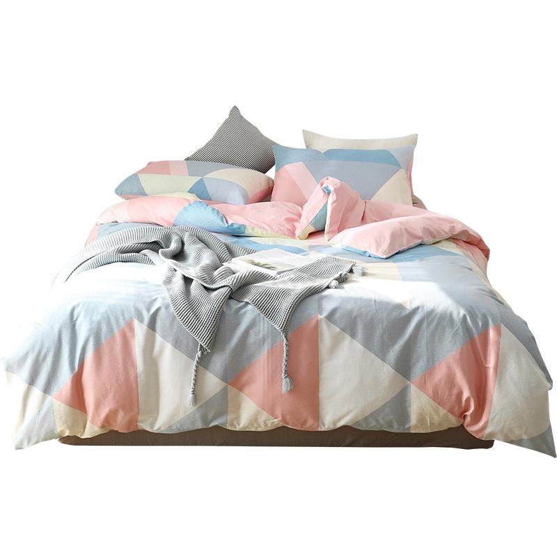 时尚现代北欧简约风格子条纹四件套纯棉全棉床单被套亲肤裸睡床品