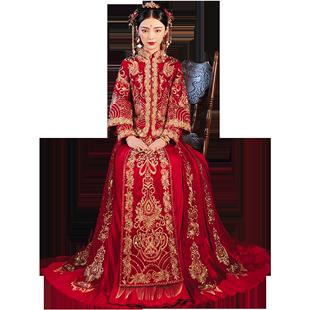 秀禾服2020新款結婚婚紗中式新娘服中國風鳳冠霞帔龍鳳褂秀和服冬