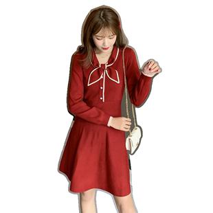 2020春秋赫本氣質小紅裙紅色喜慶連衣裙女洋氣收腰顯瘦針織打底裙