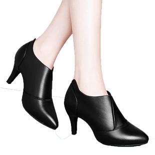 職業高跟鞋女鞋細跟冬季2020新款中跟秋冬深口單鞋黑色工裝皮鞋女