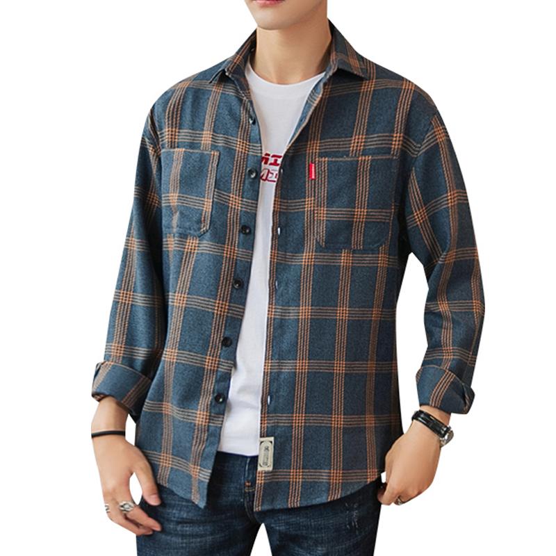 薄款格子衬衫男长袖韩版