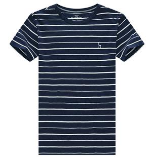 Hazzys哈吉斯夏季新款男士圓領短袖T恤衫涼感休閒冰感速幹降温男T
