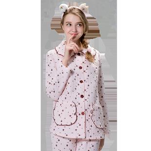 产妇月子服加厚秋冬款空气棉睡衣