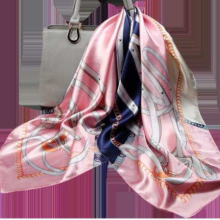 粉色女纱巾真丝夏季90x90cm大方巾