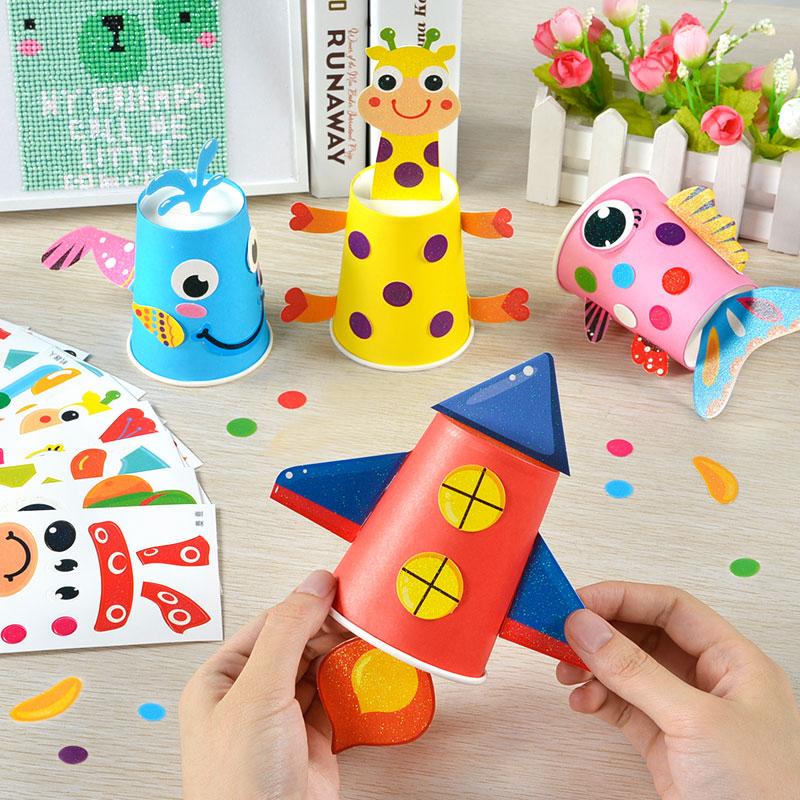 。儿童纸杯贴画幼儿园美工区创意材料大班diy手工制作小班投放区