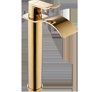 全銅冷熱面盆水龍頭單孔浴室洗手間台上盆 臉盆金色瀑布水龍頭