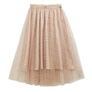 韓都衣舍夏季網紗半身裙蓬蓬裙女垂感可愛日系森系155小個子長裙