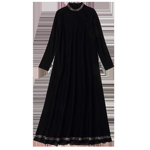 黑色針織長袖連衣裙女秋冬加絨打底裙秋裝2020新款貴夫人氣質裙子