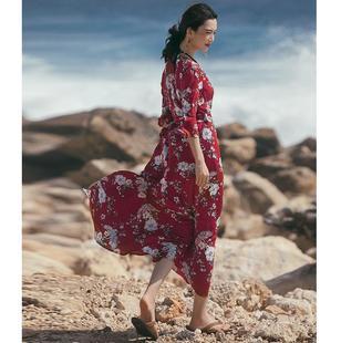 一塊布一片式紅色裹身連衣裙女夏雪紡長款沙灘裙度假民族風長裙子