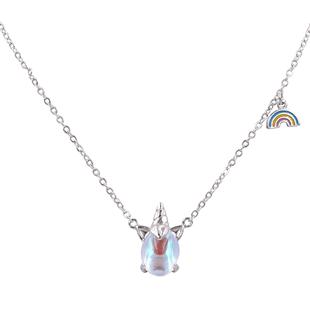 若拉珠寶獨角獸項鍊夢幻彩虹簡約短款鎖骨鏈超仙可愛ins風小眾女