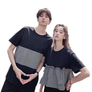 抖音情侶裝夏裝2020新款韓版寬鬆T恤短袖一裙一衣氣質夏季連衣裙